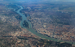 Aerial view of Danube crossing Budapest Royalty Free Stock Photo