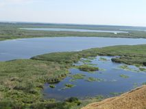 DANUBE DELTA landscape view of swamp and chanel. Aerial view of Danube Delta swamp royalty free stock photography
