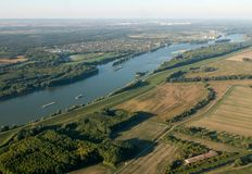 Aerial View of Danube in Hungary Stock Photo