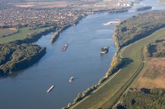 Aerial View of Danube in Hungary Royalty Free Stock Images