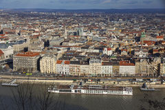 Aerial view of Danube river and Budapest city Royalty Free Stock Photo