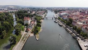 Aerial view of Danube river and of Regensburg, Germany. Technique of smooth descent down, 4K stock footage
