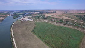 Aerial view of Danube river and windmills, Cernavoda, Romania. Hd video stock footage