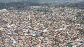 Aerial view of Dar Es Salaam. Aerial view of the city of Dar Es Salaam  showing the densely packed houses and  buildings Royalty Free Stock Photo