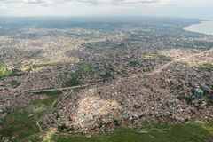 Aerial view of Dar Es Salaam. Aerial view of the city of Dar Es Salaam  showing the densely packed houses and  buildings Stock Photo