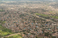 Aerial view of Dar Es Salaam. Aerial view of the city of Dar Es Salaam  showing the densely packed houses and  buildings Stock Photos