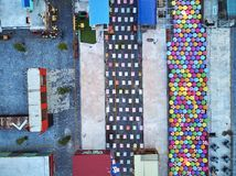 Graphic aerial view Night MArket Asia. Aerial view at dawn sunset from drone bird eye eagle Angkor container night market in Siem-REap, Cambodia party with royalty free stock photography