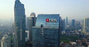 Aerial view of DBS Bank office building stock video footage