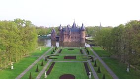 De Haar Castle. Aerial view on De Haar Castle. The largest castle in the Netherlands stock footage