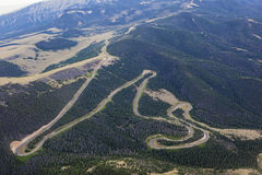 Aerial view of Dead Indian Mountain switchbacks Royalty Free Stock Image
