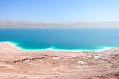 Aerial view Dead Sea coast landscape with therapeutic curative mud Royalty Free Stock Photography