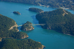 Aerial View of Deception Pass Bridge. Aerial View of the Deception Pass Bridge on Whidbey Island in Washington State royalty free stock photography