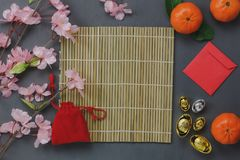 Aerial view of decoration Chinese Happy New year concept background. Royalty Free Stock Photography