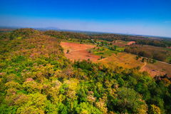 Aerial view of deforest forest. Often many farmers cut forests to provide more land for planting crops Stock Photography