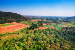 Aerial view of deforest forest. Often many farmers cut forests to provide more land for planting crops Stock Photos