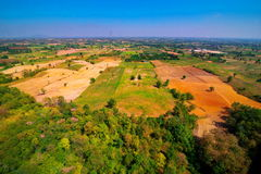Aerial view of deforest forest. Often many farmers cut forests to provide more land for planting crops Stock Images