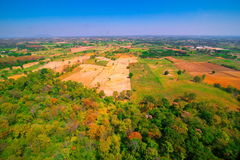 Aerial view of deforest forest. Often many farmers cut forests to provide more land for planting crops Royalty Free Stock Photos