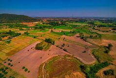 Aerial view of deforest forest. Often many farmers cut forests to provide more room for planting crops Stock Images