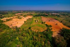 Aerial view of deforest forest. Often many farmers cut forests to provide more room for planting crops Royalty Free Stock Photo