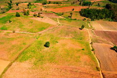 Aerial view of deforest forest. Often many farmers cut forests to provide more room for planting crops Royalty Free Stock Photography