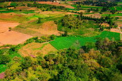 Aerial view of deforest forest. Often many farmers cut forests to provide more room for planting crops Stock Photos