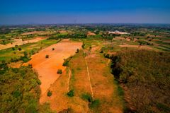 Aerial view of deforest forest. Often many farmers cut forests to provide more room for planting crops Royalty Free Stock Image