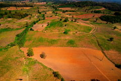Aerial view of deforest forest. Often many farmers cut forests to provide more room for planting crops Royalty Free Stock Photos