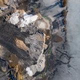 Aerial view of degraded landscape. Destroyed land. View from above. Industrial place. Photo captured with drone.  royalty free stock images
