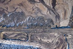 Aerial view of degraded landscape. Destroyed land. View from above. Industrial place. Photo captured with drone.  royalty free stock photo