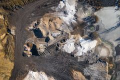 Aerial view of degraded landscape. Destroyed land. View from above. Industrial place. Photo captured with drone.  royalty free stock photography
