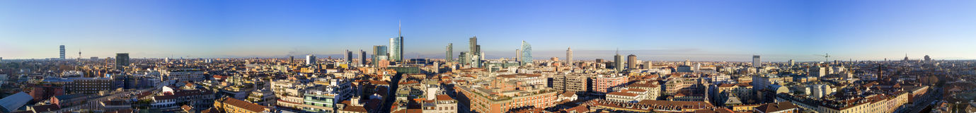 Aerial view of 360 degrees of the center of Milan. Unicredit Tower, Palazzo Lombardia, Torre Solaria, Diamond Tower, Milan, Italy, Jan. 6, 2017. New Milan royalty free stock images