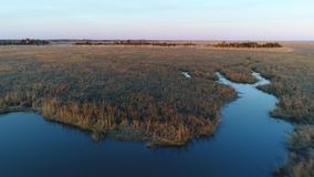 Aerial View of Delaware Bay Marsh New Jersey Royalty Free Stock Images