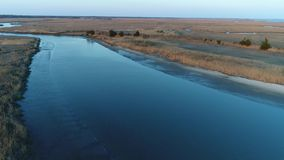 Aerial View of Delaware Bay Marsh Winter colors New Jersey.  stock footage