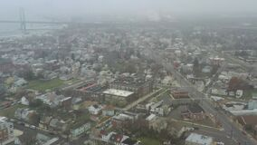 Aerial View of Delaware Riverfront Community on Foggy Day During Covid-19 Quarantine