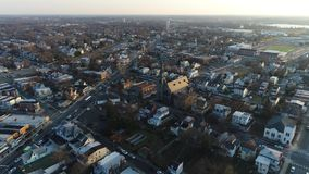 Aerial View of Delaware Riverfront Community Gloucester stock video