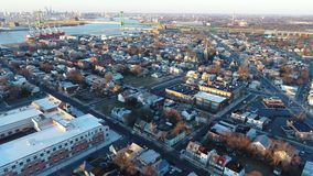 Aerial View of Delaware Riverfront Community Gloucester  NJ stock video