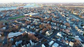 Aerial View of Delaware Riverfront Community Gloucester  NJ stock footage