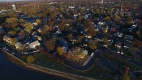 Aerial View of Delaware Riverfront Community stock footage