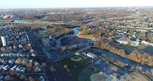 Aerial View of Delaware Riverfront Community and Port City Gloucester stock footage