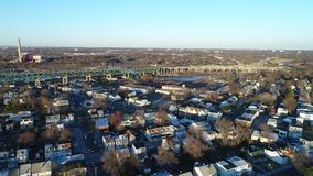 Aerial View of Delaware Riverfront Community and Port City Gloucester stock video