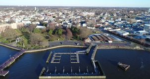 Aerial View of Delaware Riverfront Community and Port City Gloucester stock video footage