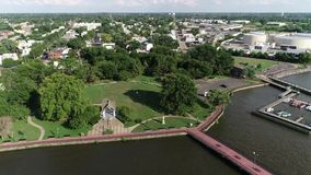 Aerial View of Delaware Riverfront Port City Gloucester New Jersey stock footage