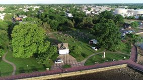 Aerial View of Delaware Riverfront Port City Gloucester New Jersey.  stock video