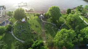 Aerial View of Delaware Riverfront Port City Gloucester New Jersey.  stock video footage