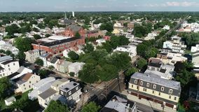 Aerial View of Delaware Riverfront Port City Gloucester New Jersey stock video