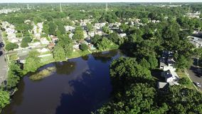 Aerial View of Delaware Riverfront Port City Gloucester New Jersey stock video footage
