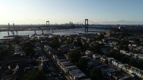 Aerial View of Delaware Riverfront Port City Gloucester New Jersey.  stock footage
