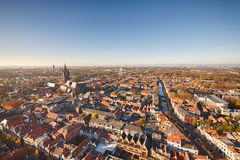 Aerial view of Delft, the Netherlands. The skyline of Delft, the Netherlands - a city famous for its Delft blue pottery Stock Image