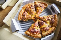 Aerial view of delivered pizza royalty free stock image