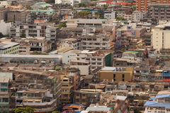 An aerial view of the densely populated and congested city Stock Photography